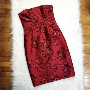 NWT WHBM Strapless Red Floral Formal Dress 219